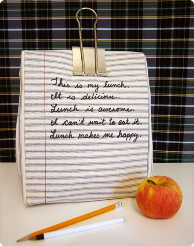 DIY School Supplies - DIY Notebook Lunchbag - Easy Crafts and Do It Yourself Ideas for Back To School - Pencils, Notebooks, Backpacks and Fun Gear for Going Back To Class - Creative DIY Projects for Cheap School Supplies - Cute Crafts for Teens and Kids http://diyprojectsforteens.com/diy-back-to-school-supplies