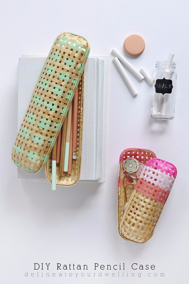 DIY School Supplies - DIY Rattan Pencil Case - Easy Crafts and Do It Yourself Ideas for Back To School - Pencils, Notebooks, Backpacks and Fun Gear for Going Back To Class - Creative DIY Projects for Cheap School Supplies - Cute Crafts for Teens and Kids http://diyprojectsforteens.com/diy-back-to-school-supplies