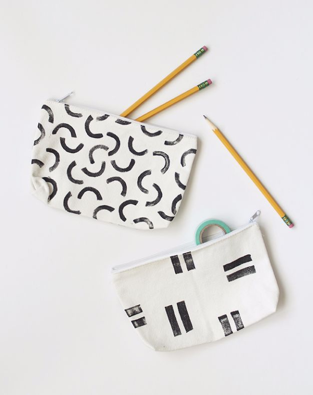 DIY School Supplies - DIY Stamped Pencil Pouches - Easy Crafts and Do It Yourself Ideas for Back To School - Pencils, Notebooks, Backpacks and Fun Gear for Going Back To Class - Creative DIY Projects for Cheap School Supplies - Cute Crafts for Teens and Kids http://diyprojectsforteens.com/diy-back-to-school-supplies