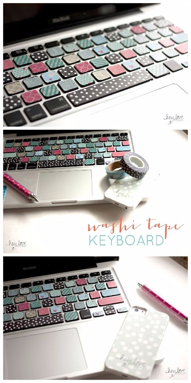 DIY School Supplies - DIY Washi Tape Keyboard - Easy Crafts and Do It Yourself Ideas for Back To School - Pencils, Notebooks, Backpacks and Fun Gear for Going Back To Class - Creative DIY Projects for Cheap School Supplies - Cute Crafts for Teens and Kids http://diyprojectsforteens.com/diy-back-to-school-supplies