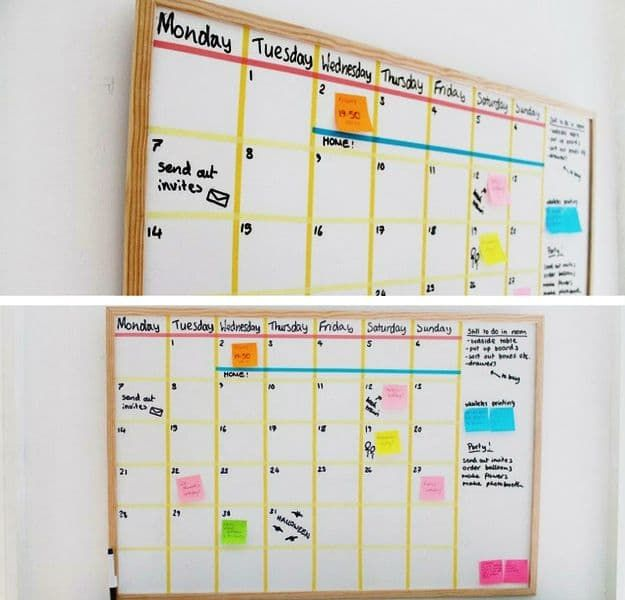 50 best back to school diy ideas diy school supplies diy white board calendar easy crafts and do it yourself ideas solutioingenieria Gallery