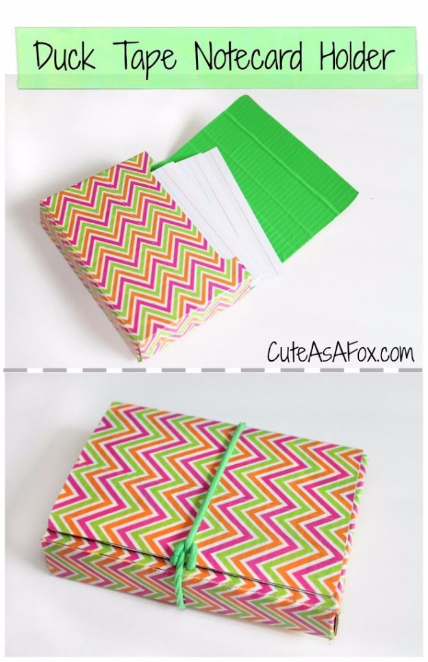 DIY School Supplies - Duct Tape Note Card Holder - Easy Crafts and Do It Yourself Ideas for Back To School - Pencils, Notebooks, Backpacks and Fun Gear for Going Back To Class - Creative DIY Projects for Cheap School Supplies - Cute Crafts for Teens and Kids http://diyprojectsforteens.com/diy-back-to-school-supplies