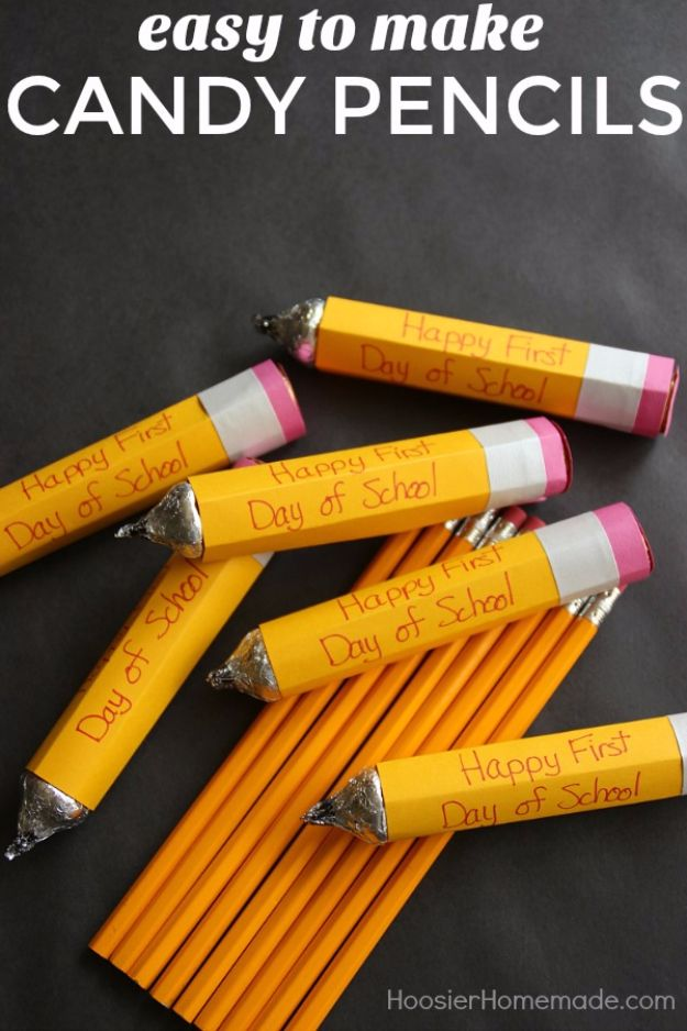 DIY School Supplies - Easy To Make Candy Pencils - Easy Crafts and Do It Yourself Ideas for Back To School - Pencils, Notebooks, Backpacks and Fun Gear for Going Back To Class - Creative DIY Projects for Cheap School Supplies - Cute Crafts for Teens and Kids http://diyprojectsforteens.com/diy-back-to-school-supplies