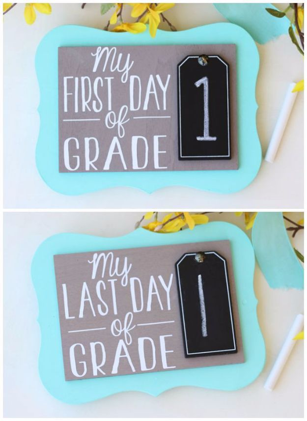 DIY School Supplies - First Day of School Photo Prop - Easy Crafts and Do It Yourself Ideas for Back To School - Pencils, Notebooks, Backpacks and Fun Gear for Going Back To Class - Creative DIY Projects for Cheap School Supplies - Cute Crafts for Teens and Kids #backtoschool #teencrafts #kidscrafts #teen #diyideas #crafts