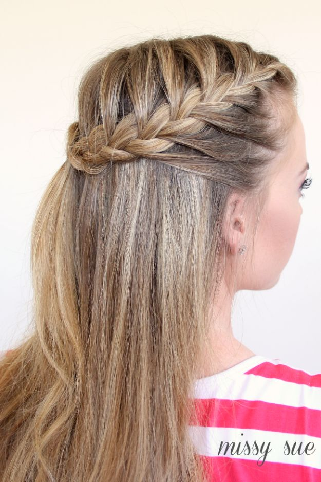 Easy Braids With Tutorials - Half Up French Braids - Cute Braiding Tutorials for Teens, Girls and Women - Easy Step by Step Braid Ideas - Quick Hairstyles for School - Creative Braids for Teenagers - Tutorial and Instructions for Hair Braiding http://diyprojectsforteens.com/easy-braids-tutorials