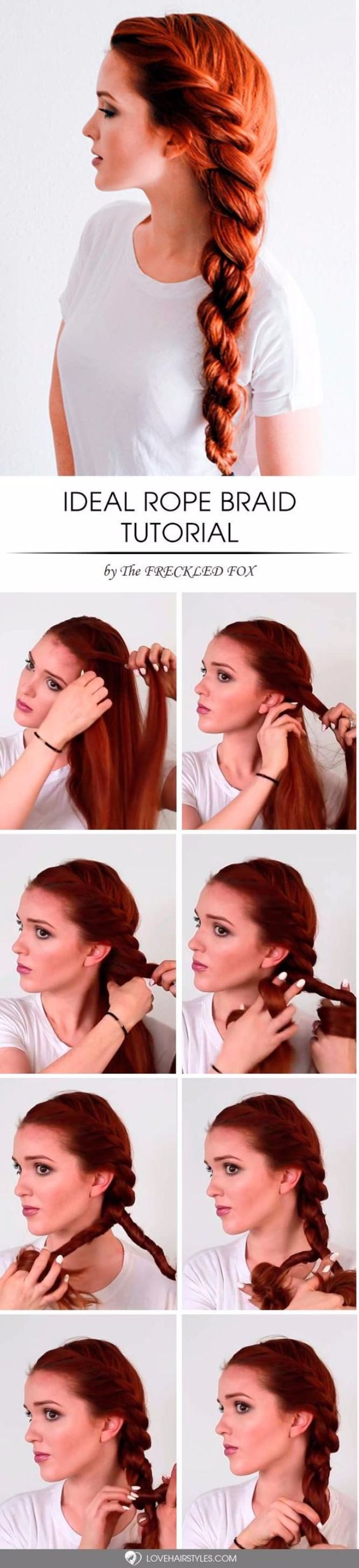 Easy Braids With Tutorials - Ideal Rope Braid - Cute Braiding Tutorials for Teens, Girls and Women - Easy Step by Step Braid Ideas - Quick Hairstyles for School - Creative Braids for Teenagers - Tutorial and Instructions for Hair Braiding http://diyprojectsforteens.com/easy-braids-tutorials