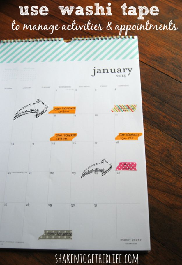 DIY School Supplies - Organize Your Calendar With Washi Tape - Easy Crafts and Do It Yourself Ideas for Back To School - Pencils, Notebooks, Backpacks and Fun Gear for Going Back To Class - Creative DIY Projects for Cheap School Supplies - Cute Crafts for Teens and Kids http://diyprojectsforteens.com/diy-back-to-school-supplies