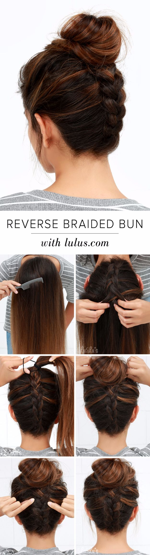 Easy Braids With Tutorials - Reverse Braided Bun - Cute Braiding Tutorials for Teens, Girls and Women - Easy Step by Step Braid Ideas - Quick Hairstyles for School - Creative Braids for Teenagers - Tutorial and Instructions for Hair Braiding http://diyprojectsforteens.com/easy-braids-tutorials