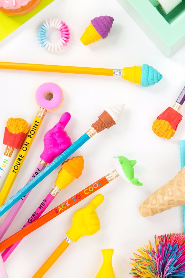 DIY School Supplies - Super Cute Pencil Toppers - Easy Crafts and Do It Yourself Ideas for Back To School - Pencils, Notebooks, Backpacks and Fun Gear for Going Back To Class - Creative DIY Projects for Cheap School Supplies - Cute Crafts for Teens and Kids http://diyprojectsforteens.com/diy-back-to-school-supplies