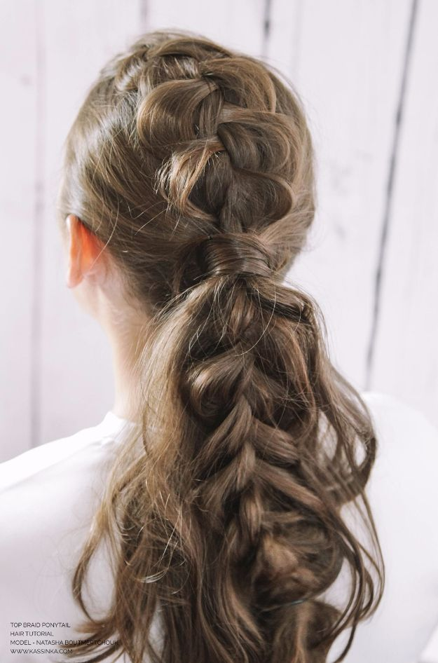 Easy Braids With Tutorials - Top Braid Ponytail - Cute Braiding Tutorials for Teens, Girls and Women - Easy Step by Step Braid Ideas - Quick Hairstyles for School - Creative Braids for Teenagers - Tutorial and Instructions for Hair Braiding http://diyprojectsforteens.com/easy-braids-tutorials