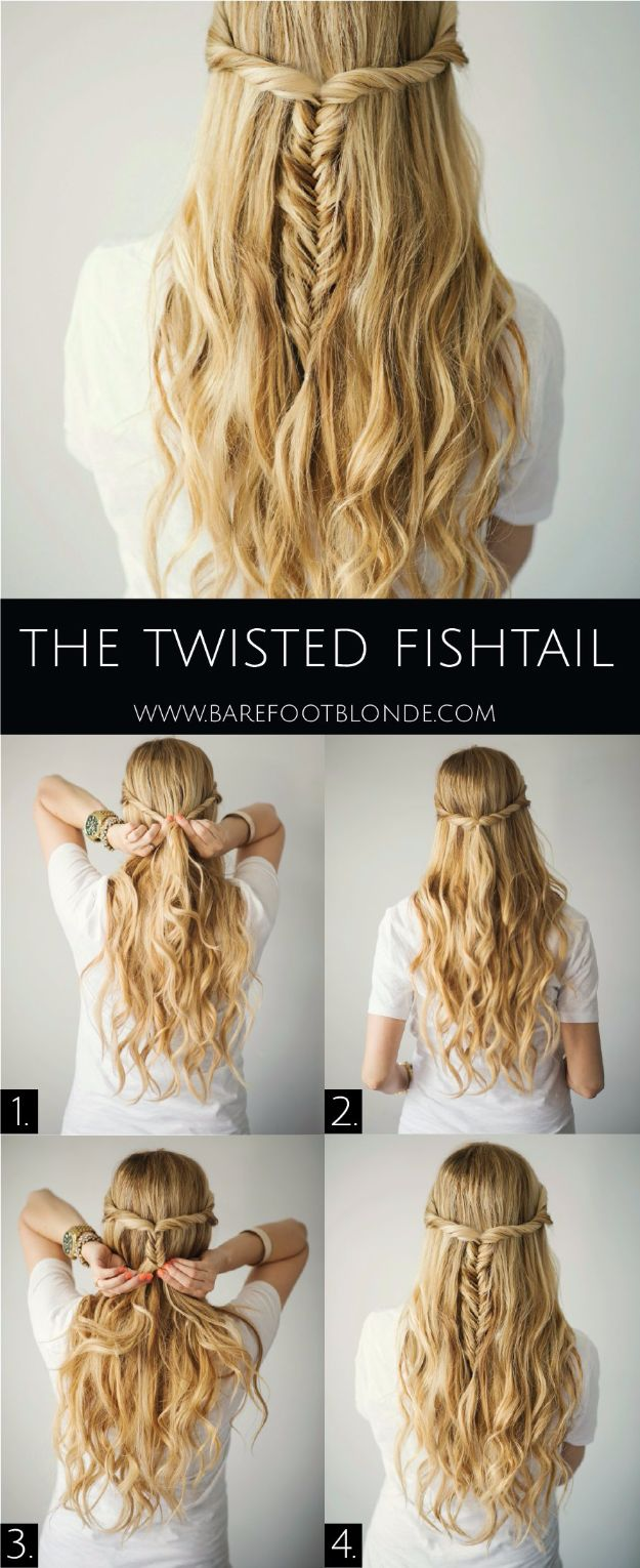 Easy Braids With Tutorials - Twisted Fishtail - Cute Braiding Tutorials for Teens, Girls and Women - Easy Step by Step Braid Ideas - Quick Hairstyles for School - Creative Braids for Teenagers - Tutorial and Instructions for Hair Braiding http://diyprojectsforteens.com/easy-braids-tutorials
