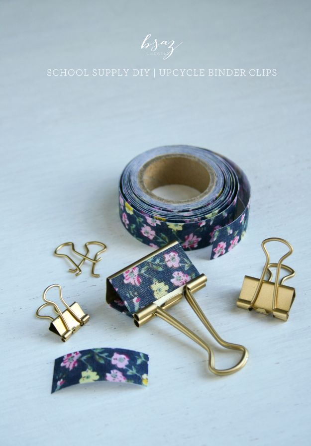 DIY School Supplies - Upcycled Binder Clips - Easy Crafts and Do It Yourself Ideas for Back To School - Pencils, Notebooks, Backpacks and Fun Gear for Going Back To Class - Creative DIY Projects for Cheap School Supplies - Cute Crafts for Teens and Kids http://diyprojectsforteens.com/diy-back-to-school-supplies