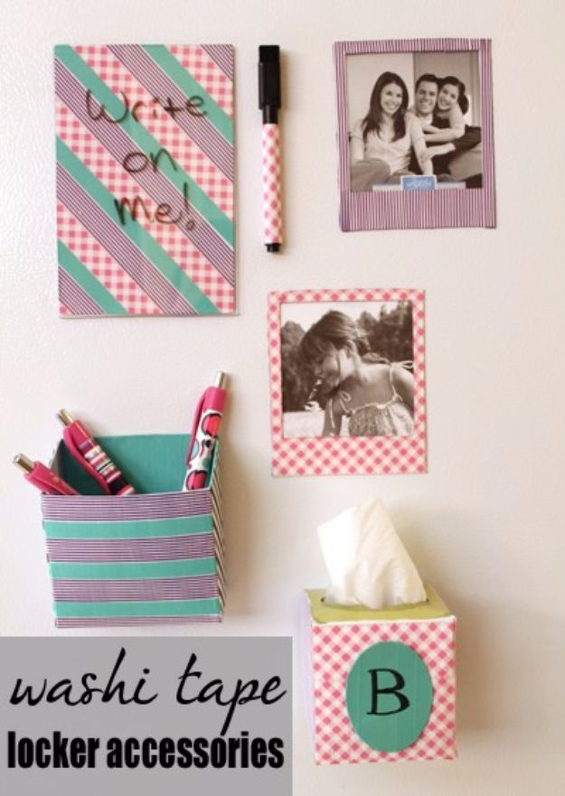 DIY School Supplies - Washi Tape Locker Accessories - Easy Crafts and Do It Yourself Ideas for Back To School - Pencils, Notebooks, Backpacks and Fun Gear for Going Back To Class - Creative DIY Projects for Cheap School Supplies - Cute Crafts for Teens and Kids http://diyprojectsforteens.com/diy-back-to-school-supplies