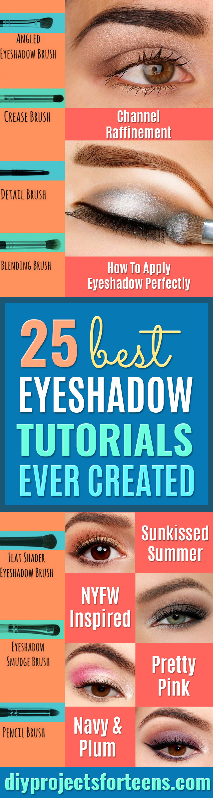 Best Eyeshadow Tutorials - Easy Step by Step How To For Eye Shadow - Cool Makeup Tricks and Eye Makeup Tutorial With Instructions - Quick Ways to Do Smoky Eye, Natural Makeup, Looks for Day and Evening, Brown and Blue Eyes - Cool Ideas for Beginners and Teens http://diyprojectsforteens.com/best-eyeshadow-tutorials
