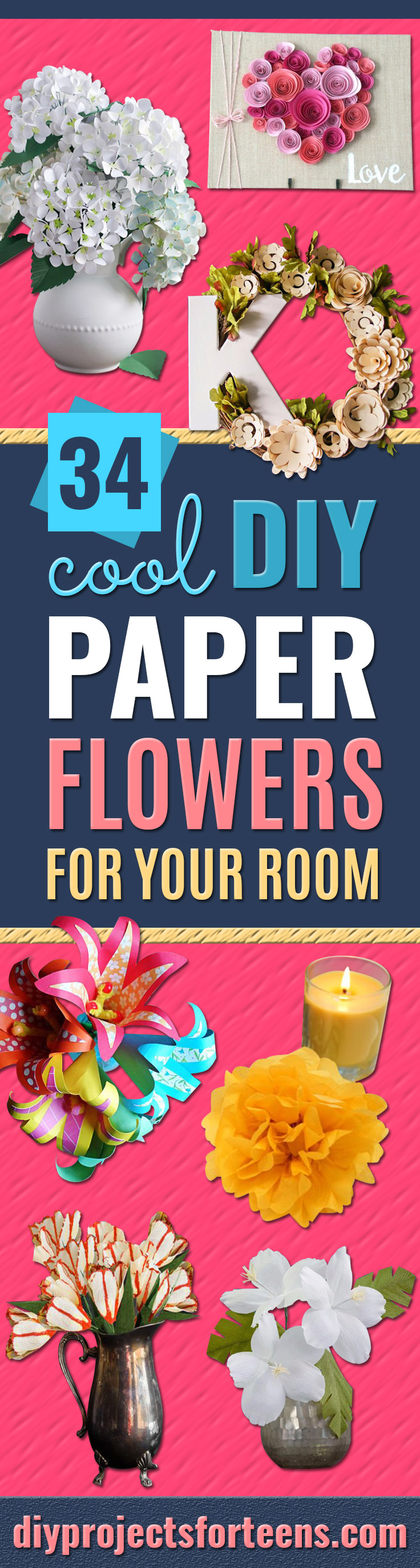 DIY Paper Flowers For Your Room - How To Make A Paper Flower - Large Wedding Backdrop for Wall Decor - Easy Tissue Paper Flower Tutorial for Kids - Giant Projects for Photo Backdrops - Daisy, Roses, Bouquets, Centerpieces - Cricut Template and Step by Step Tutorial http://diyjoy.com/diy-paper-flowers