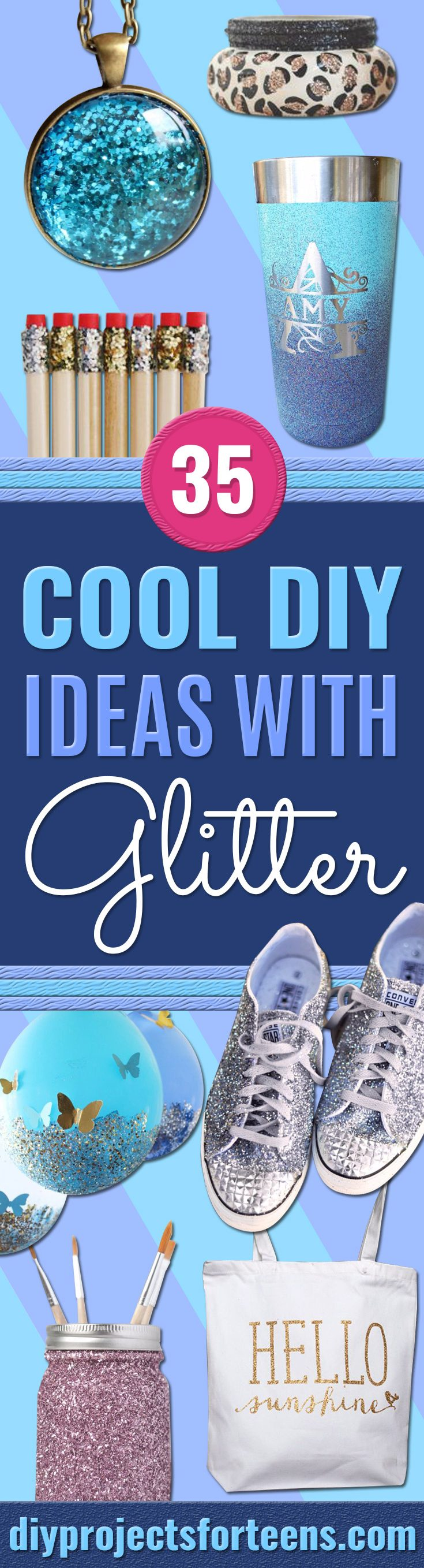 DIY Ideas Made WIth Glitter - Easy Crafts and Projects for Decoration, Gifts, and Bedroom Decor - How To Make Ombre, Mod Podge and Glitter Mason Jar Gift Ideas For Teens - Easy Clothes and Makeup Crafts For Teenagers - Easy Glitter Crafts Ideas