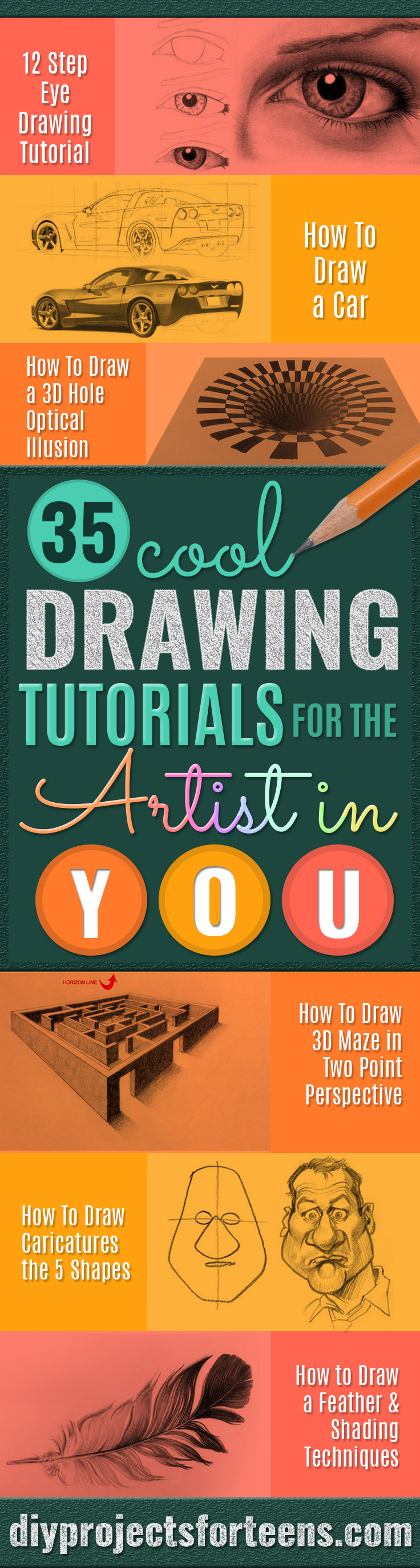 Cool Drawing Tutorials - Learn How To Draw Animals, Easy People, Step by Step Drawing and Tutorial With Instructions - Creative Arts and Crafts Ideas for Teens - Shapes, Shading, Buildings, School Art Projects, Drawing for Beginners and Teenagers, Kids http://diyprojectsforteens.com/cool-drawing-tutorials