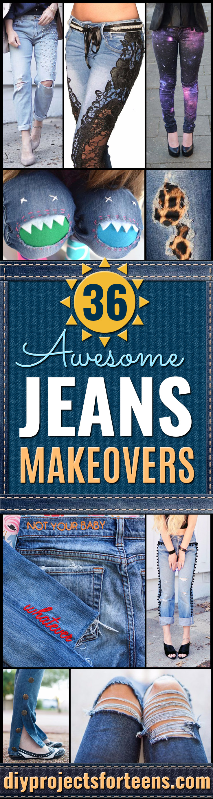 DIY Jeans Makeovers - Easy Crafts and Tutorials to Refashion and Upcycle Your Jeans and Create Ripped, Distressed, Bleach, Lace Edge, Cut Off, Skinny, Shorts, Skirts, Galaxy and Painted Jeans Ideas - Cool Denim Fashions for Teens, Teenagers, Women #diyideas #diyclothes #clothinghacks #teencrafts
