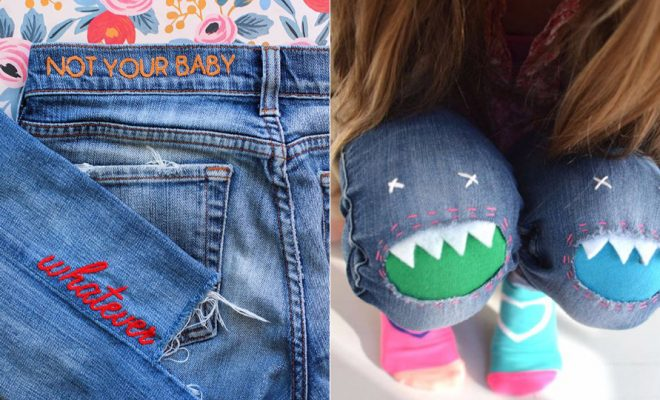 DIY Jeans Makeovers - Easy Crafts and Tutorials to Refashion and Upcycle Your Jeans and Create Ripped, Distressed, Bleach, Lace Edge, Cut Off, Skinny, Shorts, Skirts, Galaxy and Painted Jeans Ideas - Cool Denim Fashions for Teens, Teenagers, Women http://diyprojectsforteens.com/diy-jeans-projects