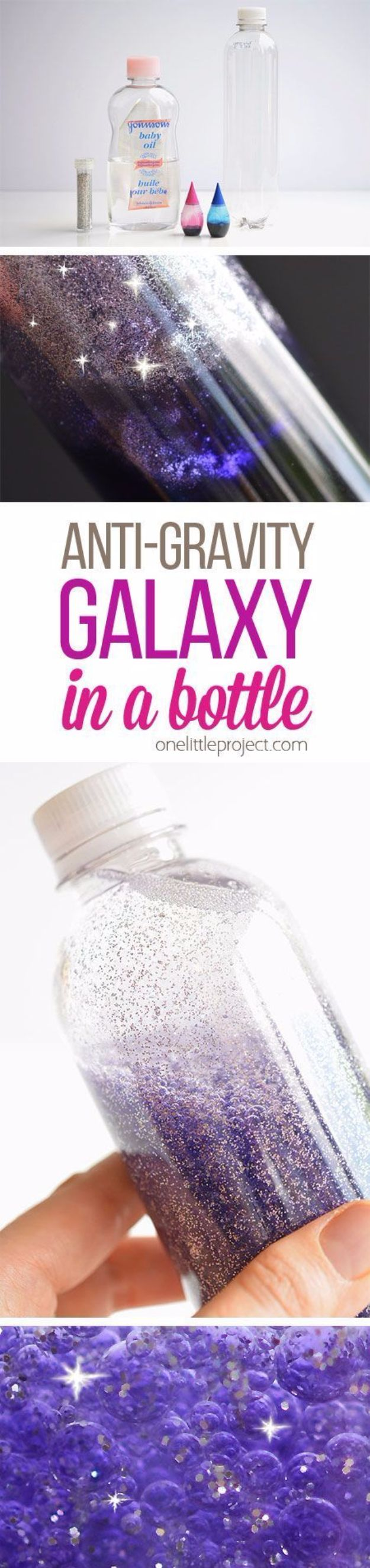 Galaxy DIY Crafts - Anti-Gravity Galaxy in a Bottle - Easy Room Decor, Cool Clothes, Fun Fabric Ideas and Painting Projects - Food, Cookies and Cupcake Recipes - Nebula Galaxy In A Jar - Art for Your Bedroom - Shirt, Backpack, Soap, Decorations for Teens, Kids and Adults
