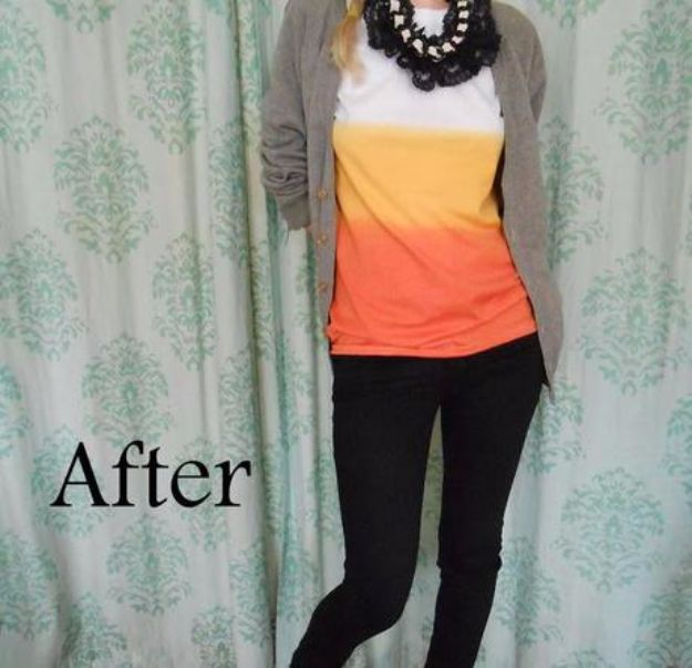 T-Shirt Makeovers - Candy Corn Dip Dye T-Shirt - Fun Upcycle Ideas for Tees - How To Make Simple Awesome Summer Style Projects - Cute Sleeve and Neckline Ideas - Cheap and Easy Ways To Upcycle Tshirts for Fun Clothes and Fashion - Quick Projects for Teens and Teenagers on A Budget http://diyprojectsforteens.com/t-shirt-makeovers