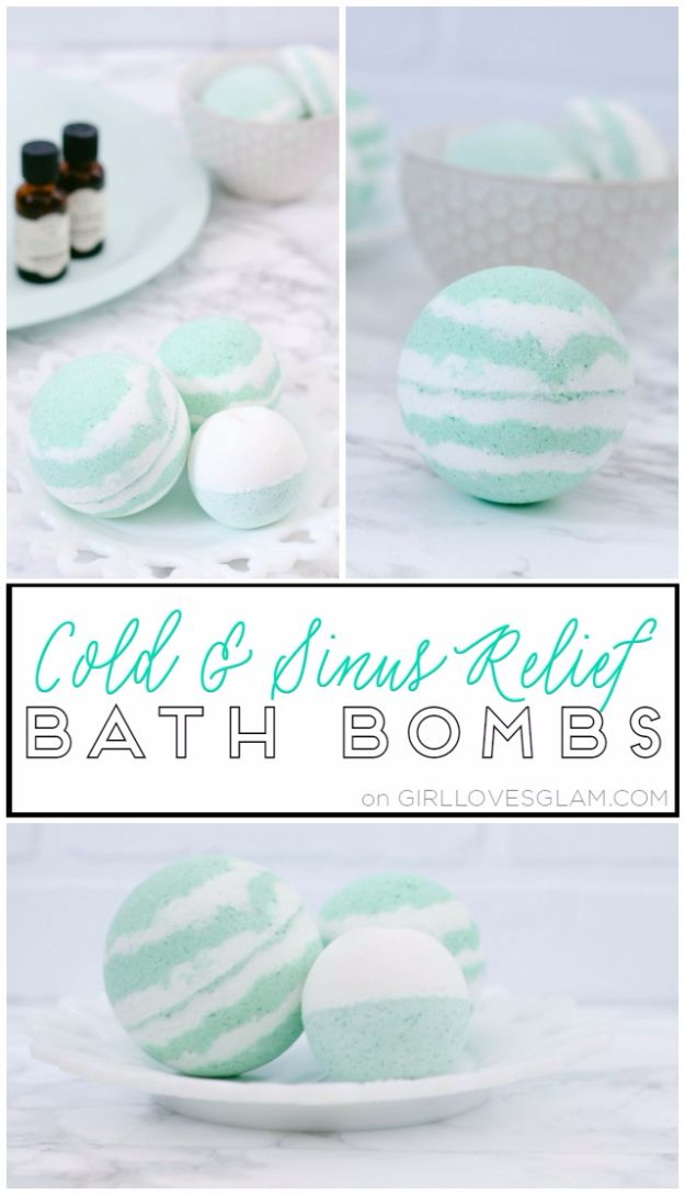 Cool DIY Bath Bombs to Make At Home - Cold And Sinus Relief Bath Bombs - Recipes and Tutorial for How To Make A Bath Bomb - Best Bathbomb Ideas - Fun DIY Projects for Women, Teens, and Girls | DIY Bath Bombs Recipe and Tutorials | Make Cheap Gifts Like Lush Bath Bombs http://diyprojectsforteens.com/best-diy-bath-bombs