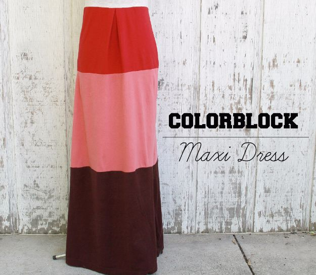 T-Shirt Makeovers - Colorblock Dress from T-Shirts - Fun Upcycle Ideas for Tees - How To Make Simple Awesome Summer Style Projects - Cute Sleeve and Neckline Ideas - Cheap and Easy Ways To Upcycle Tshirts for Fun Clothes and Fashion - Quick Projects for Teens and Teenagers on A Budget http://diyprojectsforteens.com/t-shirt-makeovers