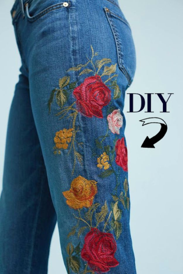 DIY Jeans Makeovers - Custom Patches and Embroidery with a Basic Sewing Machine - Easy Crafts and Tutorials to Refashion and Upcycle Your Jeans and Create Ripped, Distressed, Bleach, Lace Edge, Cut Off, Skinny, Shorts, Skirts, Galaxy and Painted Jeans Ideas - Cool Denim Fashions for Teens, Teenagers, Women http://diyprojectsforteens.com/diy-jeans-projects
