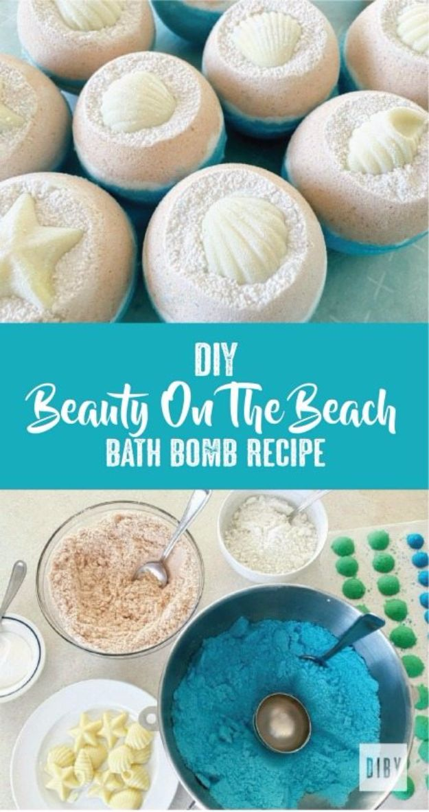 Cool DIY Bath Bombs to Make At Home - DIY Beauty On The Beach Bath Bomb - Recipes and Tutorial for How To Make A Bath Bomb - Best Bathbomb Ideas - Fun DIY Projects for Women, Teens, and Girls | DIY Bath Bombs Recipe and Tutorials | Make Cheap Gifts Like Lush Bath Bombs http://diyprojectsforteens.com/best-diy-bath-bombs
