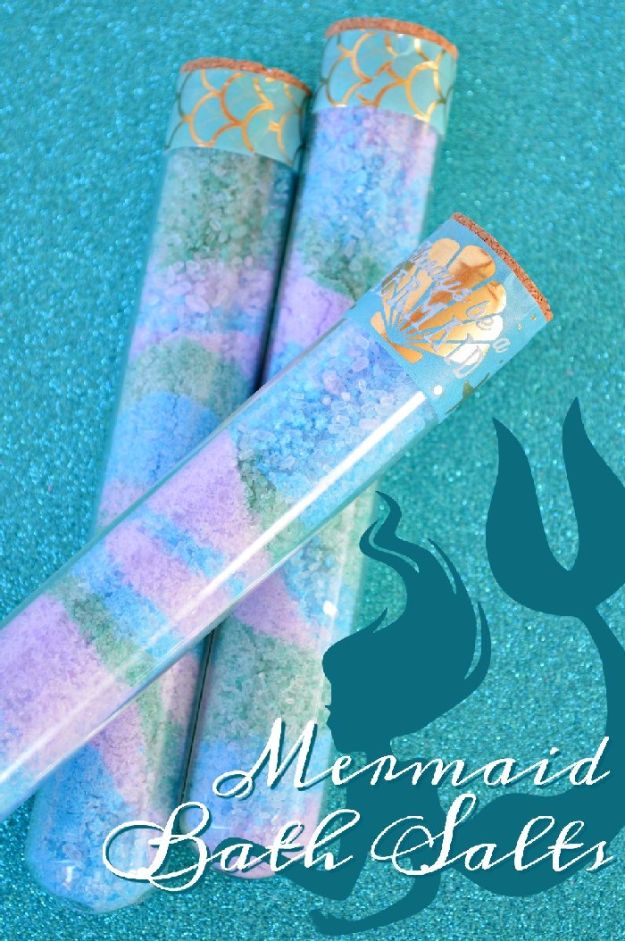 DIY Mermaid Crafts - DIY Colorful Mermaid Bath Salts - How To Make Room Decorations, Art Projects, Jewelry, and Makeup For Kids, Teens and Teenagers - Mermaid Costume Tutorials - Fun Clothes, Pillow Projects, Mermaid Tail Tutorial http://diyprojectsforteens.com/diy-mermaid-crafts