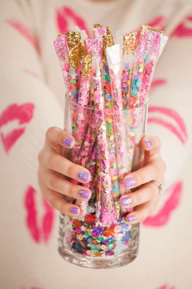 DIY Ideas WIth Glitter - DIY Confetti Sticks - Easy Crafts and Projects for Decoration, Gifts, and Bedroom Decor - How To Make Ombre, Mod Podge and Glitter Mason Jar Gift Ideas For Teens - Easy Clothes and Makeup Crafts For Teenagers http://diyprojectsforteens.com/glitter-crafts-ideas