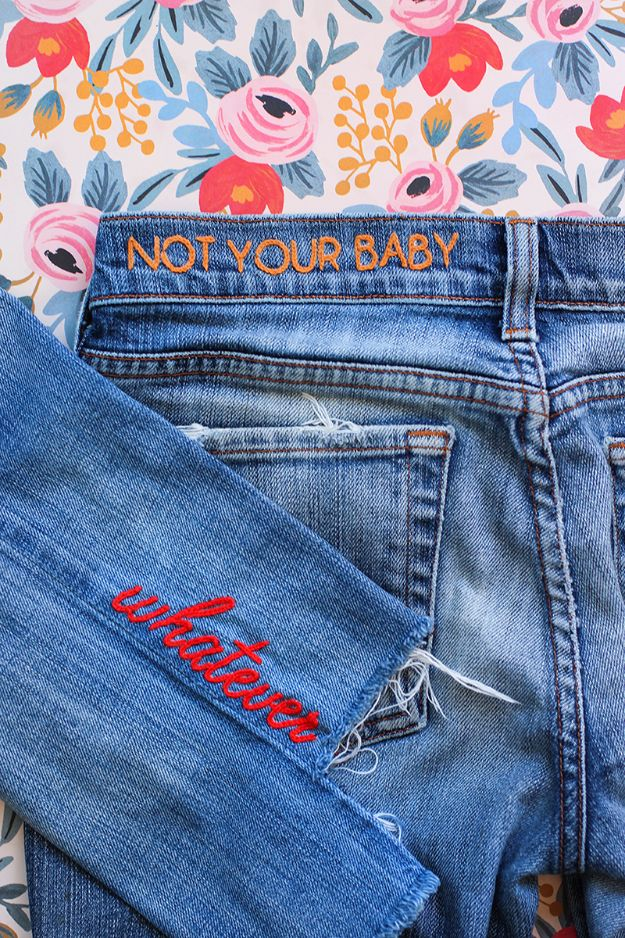 DIY Jeans Makeovers - DIY Denim Embroidery - Easy Crafts and Tutorials to Refashion and Upcycle Your Jeans and Create Ripped, Distressed, Bleach, Lace Edge, Cut Off, Skinny, Shorts, Skirts, Galaxy and Painted Jeans Ideas - Cool Denim Fashions for Teens, Teenagers, Women http://diyprojectsforteens.com/diy-jeans-projects