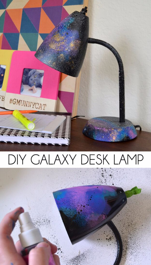 Galaxy DIY Crafts - DIY Galaxy Desk Lamp - Easy Room Decor, Cool Clothes, Fun Fabric Ideas and Painting Projects - Food, Cookies and Cupcake Recipes - Nebula Galaxy In A Jar - Art for Your Bedroom - Shirt, Backpack, Soap, Decorations for Teens, Kids and Adults http://diyprojectsforteens.com/galaxy-crafts