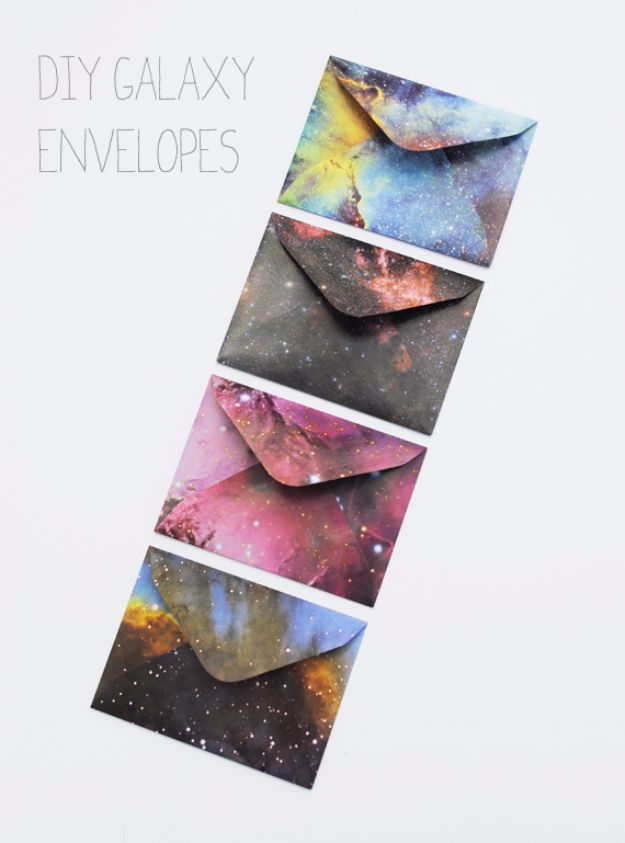 Galaxy DIY Crafts - DIY Galaxy Envelopes - Easy Room Decor, Cool Clothes, Fun Fabric Ideas and Painting Projects - Food, Cookies and Cupcake Recipes - Nebula Galaxy In A Jar - Art for Your Bedroom - Shirt, Backpack, Soap, Decorations for Teens, Kids and Adults http://diyprojectsforteens.com/galaxy-crafts