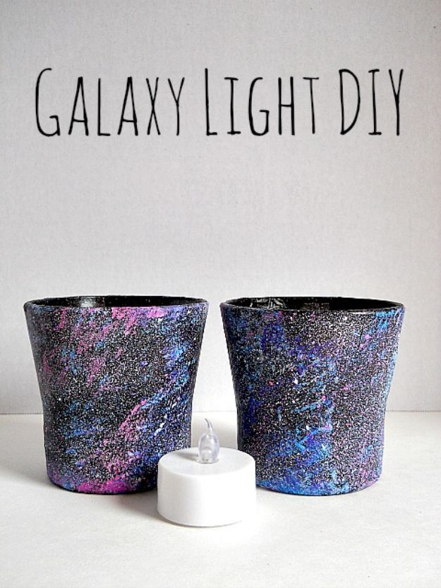 Galaxy DIY Crafts - DIY Galaxy Lights - Easy Room Decor, Cool Clothes, Fun Fabric Ideas and Painting Projects - Food, Cookies and Cupcake Recipes - Nebula Galaxy In A Jar - Art for Your Bedroom - Shirt, Backpack, Soap, Decorations for Teens, Kids and Adults http://diyprojectsforteens.com/galaxy-crafts