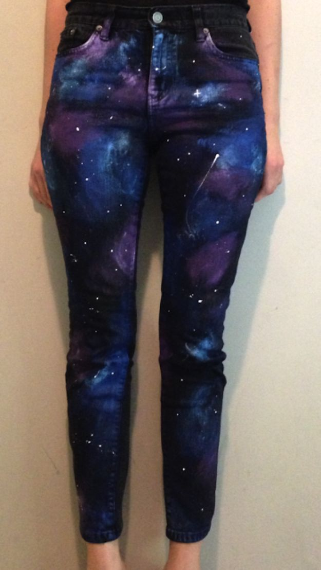 Galaxy DIY Crafts - DIY Galaxy Pants - Easy Room Decor, Cool Clothes, Fun Fabric Ideas and Painting Projects - Food, Cookies and Cupcake Recipes - Nebula Galaxy In A Jar - Art for Your Bedroom - Shirt, Backpack, Soap, Decorations for Teens, Kids and Adults http://diyprojectsforteens.com/galaxy-crafts
