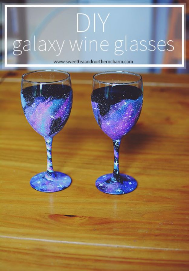 Galaxy DIY Crafts - DIY Galaxy Wine Glasses - Easy Room Decor, Cool Clothes, Fun Fabric Ideas and Painting Projects - Food, Cookies and Cupcake Recipes - Nebula Galaxy In A Jar - Art for Your Bedroom - Shirt, Backpack, Soap, Decorations for Teens, Kids and Adults http://diyprojectsforteens.com/galaxy-crafts