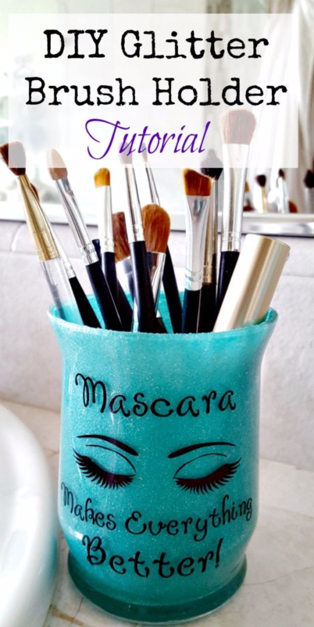 DIY Ideas WIth Glitter - DIY Glitter Brush Holder - Easy Crafts and Projects for Decoration, Gifts, and Bedroom Decor - How To Make Ombre, Mod Podge and Glitter Mason Jar Gift Ideas For Teens - Easy Clothes and Makeup Crafts For Teenagers #diyideas #glitter #crafts