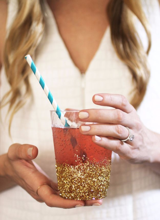 DIY Ideas WIth Glitter - DIY Glitter-Dipped Cups - Easy Crafts and Projects for Decoration, Gifts, and Bedroom Decor - How To Make Ombre, Mod Podge and Glitter Mason Jar Gift Ideas For Teens - Easy Clothes and Makeup Crafts For Teenagers http://diyprojectsforteens.com/glitter-crafts-ideas