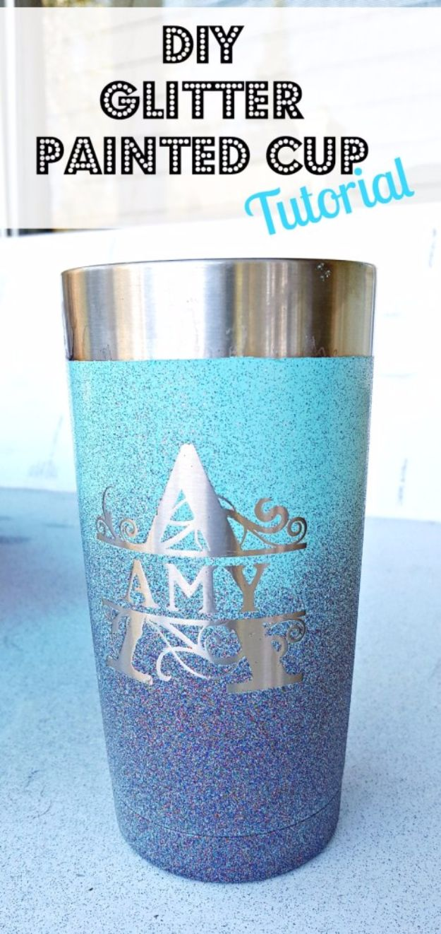 DIY Ideas WIth Glitter - DIY Glitter Painted Cup - Easy Crafts and Projects for Decoration, Gifts, and Bedroom Decor - How To Make Ombre, Mod Podge and Glitter Mason Jar Gift Ideas For Teens - Easy Clothes and Makeup Crafts For Teenagers http://diyprojectsforteens.com/glitter-crafts-ideas