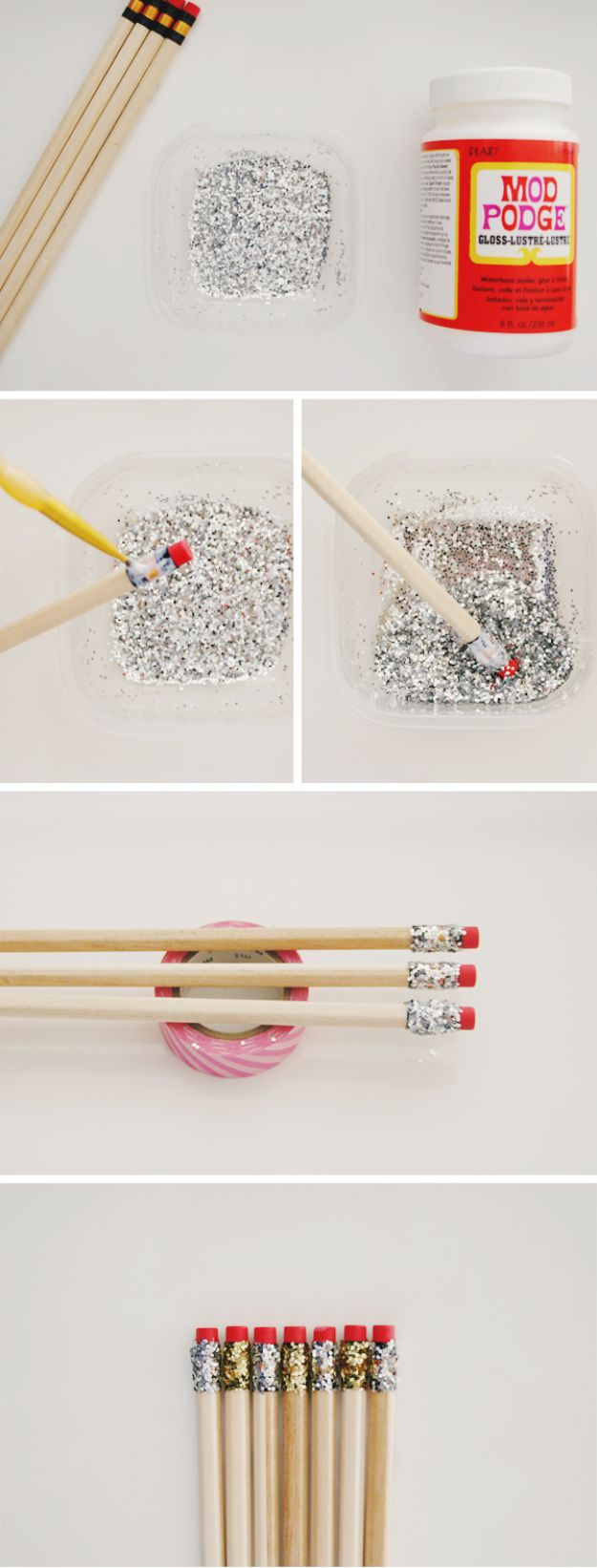 DIY Ideas WIth Glitter - DIY Glitter Pencils - Easy Crafts and Projects for Decoration, Gifts, and Bedroom Decor - How To Make Ombre, Mod Podge and Glitter Mason Jar Gift Ideas For Teens - Easy Clothes and Makeup Crafts For Teenagers http://diyprojectsforteens.com/glitter-crafts-ideas