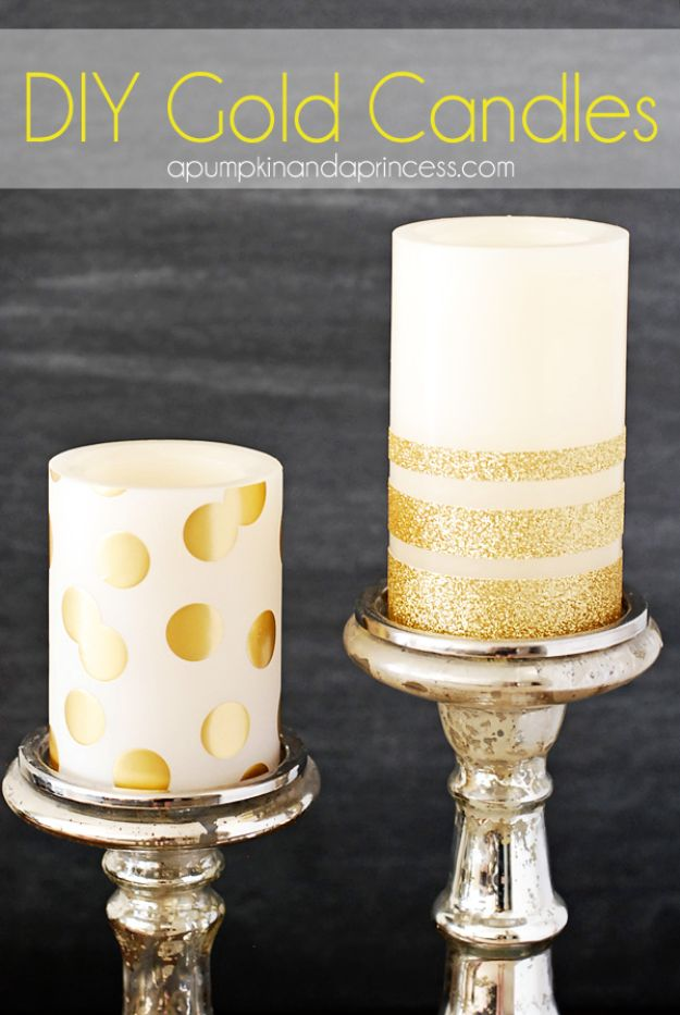 DIY Ideas WIth Glitter - DIY Gold Glitter Candles - Easy Crafts and Projects for Decoration, Gifts, and Bedroom Decor - How To Make Ombre, Mod Podge and Glitter Mason Jar Gift Ideas For Teens - Easy Clothes and Makeup Crafts For Teenagers http://diyprojectsforteens.com/glitter-crafts-ideas
