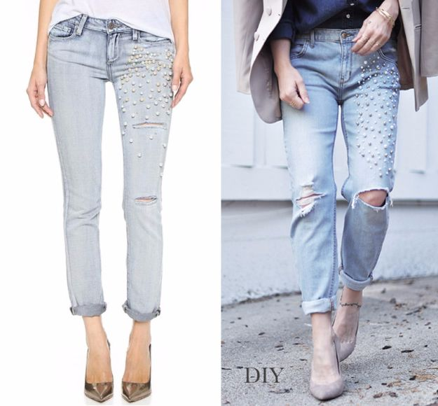 DIY Jeans Makeovers - DIY Inspired Pearl Embellished Jeans - Easy Crafts and Tutorials to Refashion and Upcycle Your Jeans and Create Ripped, Distressed, Bleach, Lace Edge, Cut Off, Skinny, Shorts, Skirts, Galaxy and Painted Jeans Ideas - Cool Denim Fashions for Teens, Teenagers, Women #diyideas #diyclothes #clothinghacks #teencrafts