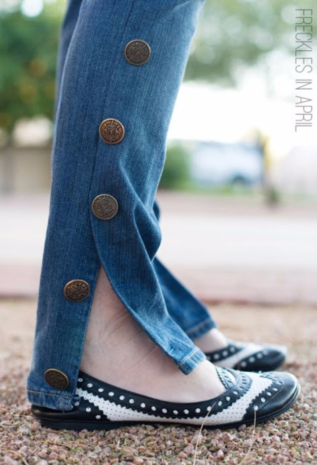 DIY Jeans Makeovers - DIY Knockoff Chanel Pants - Easy Crafts and Tutorials to Refashion and Upcycle Your Jeans and Create Ripped, Distressed, Bleach, Lace Edge, Cut Off, Skinny, Shorts, Skirts, Galaxy and Painted Jeans Ideas - Cool Denim Fashions for Teens, Teenagers, Women http://diyprojectsforteens.com/diy-jeans-projects