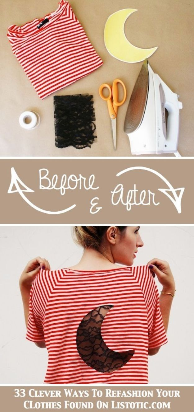 T-Shirt Makeovers - DIY Lace Insert Tee - Fun Upcycle Ideas for Tees - How To Make Simple Awesome Summer Style Projects - Cute Sleeve and Neckline Ideas - Cheap and Easy Ways To Upcycle Tshirts for Fun Clothes and Fashion - Quick Projects for Teens and Teenagers on A Budget http://diyprojectsforteens.com/t-shirt-makeovers