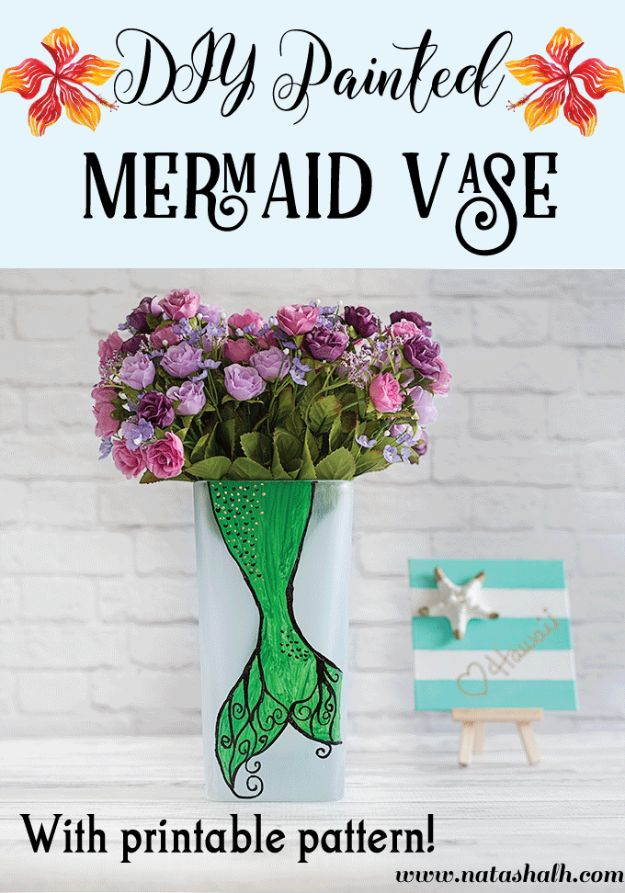 DIY Mermaid Crafts - DIY Painted Mermaid Vase - How To Make Room Decorations, Art Projects, Jewelry, and Makeup For Kids, Teens and Teenagers - Mermaid Costume Tutorials - Fun Clothes, Pillow Projects, Mermaid Tail Tutorial http://diyprojectsforteens.com/diy-mermaid-crafts