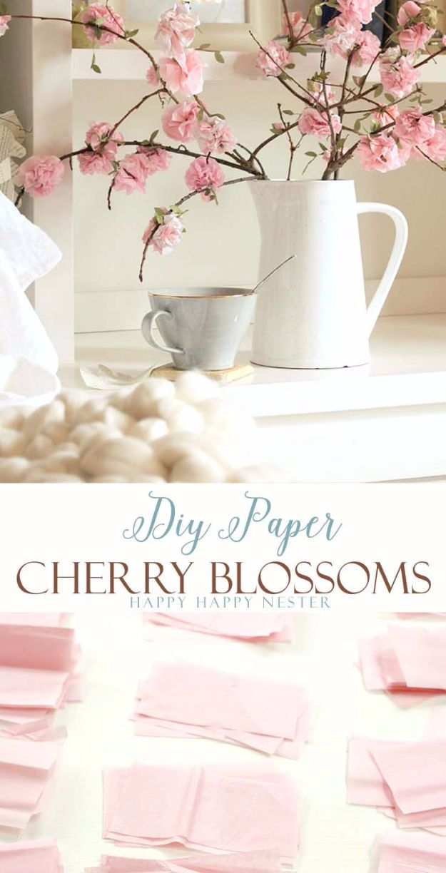 DIY Paper Flowers For Your Room - DIY Paper Cherry Blossoms - How To Make A Paper Flower - Large Wedding Backdrop for Wall Decor - Easy Tissue Paper Flower Tutorial for Kids - Giant Projects for Photo Backdrops - Daisy, Roses, Bouquets, Centerpieces - Cricut Template and Step by Step Tutorial http://diyjoy.com/diy-paper-flowers