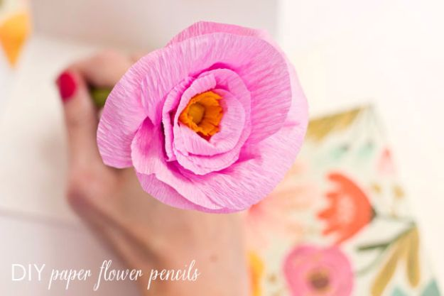 DIY Paper Flowers For Your Room - DIY Paper Flower Pencils - How To Make A Paper Flower - Large Wedding Backdrop for Wall Decor - Easy Tissue Paper Flower Tutorial for Kids - Giant Projects for Photo Backdrops - Daisy, Roses, Bouquets, Centerpieces - Cricut Template and Step by Step Tutorial http://diyjoy.com/diy-paper-flowers