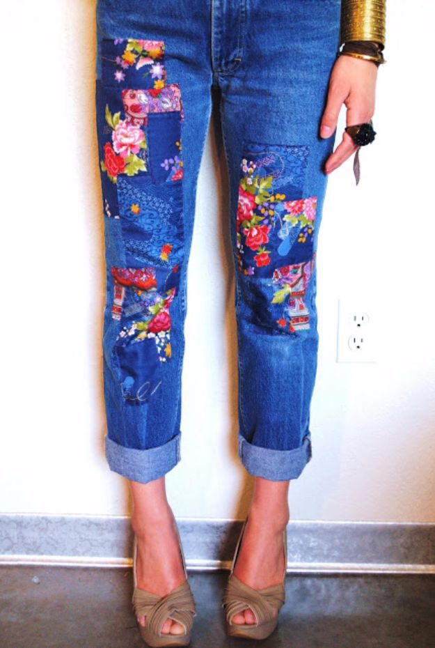 DIY Jeans Makeovers - DIY Patchwork Jeans - Easy Crafts and Tutorials to Refashion and Upcycle Your Jeans and Create Ripped, Distressed, Bleach, Lace Edge, Cut Off, Skinny, Shorts, Skirts, Galaxy and Painted Jeans Ideas - Cool Denim Fashions for Teens, Teenagers, Women #diyideas #diyclothes #clothinghacks #teencrafts
