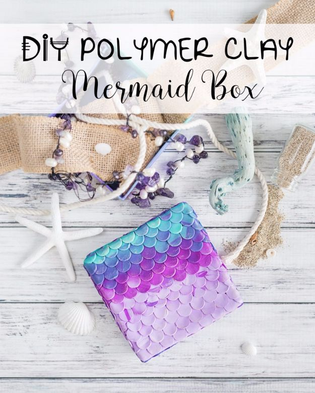 DIY Mermaid Crafts - DIY Polymer Clay Mermaid Box - How To Make Room Decorations, Art Projects, Jewelry, and Makeup For Kids, Teens and Teenagers - Mermaid Costume Tutorials - Fun Clothes, Pillow Projects, Mermaid Tail Tutorial http://diyprojectsforteens.com/diy-mermaid-crafts